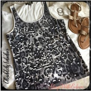 Absolutely Famous Dark Animal Print Sequin Tank